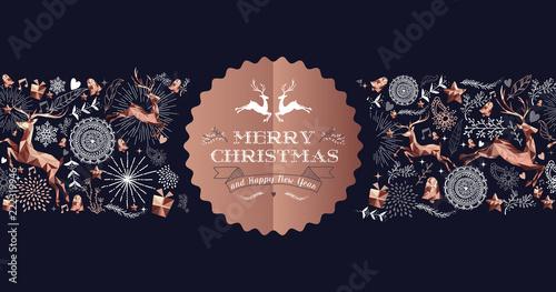 Wesołych Świąt miedź luksus etykieta karty jelenia