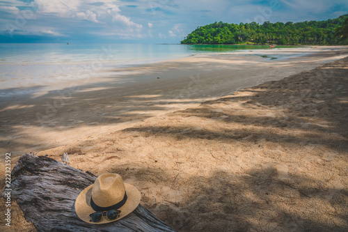 Beautiful Tropical Beach blue ocean background with Traveler items  vacation travel accessories for holiday or long weekend a guide  choice idea for planning travel - 222323592