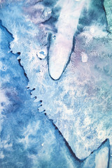 Watercolor texture splashes. Original abstract, paper, stone, ice, space, galaxy, cosmic light style blue color stains