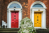 Two colourful doors in Dublin, neighbour privacy but in telationship