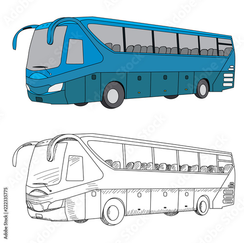 Poster vector, isolated blue bus and sketch