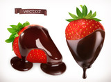 Strawberry in chocolate. 3d realistic vector icon