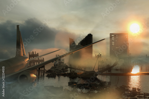 Poster 3D Illustration of a Ruins of a city. Apocalyptic landscape. apocalyptic sunset concept