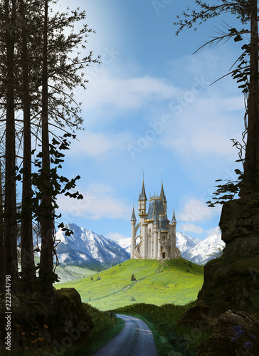 Enchanting magic princess fairy tale castle in the mountains - 222344798