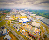 Aerial view to industrial zone and technology park on Karlov suburb of Pilsen city in Czech Republic, Europe. European industry from above.  - 222354518