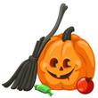 Carved pumpkin. Happy Halloween vector icon. Funny pumpkin character.