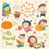 Harvesting set with kids, fruit and vegetables