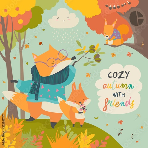 Red fox father and son in autumn forest - 222365747