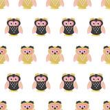 Seamless cute owls pattern. Vector childish illustration. Baby print.