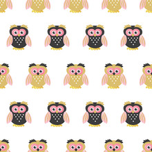 Seamless Cute Owls Pattern  Childish Illustration Baby Print Sticker