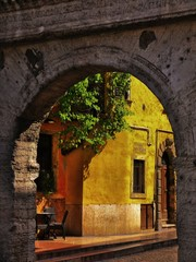 The ancient historic streets of the romantic city of Verona Italy