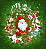 Merry Christmas holiday poster with Santa Claus - 222371149