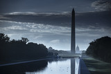 Washington DC Monument and the US Capitol Building across the reflecting pool from the Lincoln Memorial on The National Mall USA - 222371543