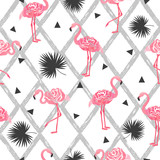 Seamless tropical trendy pattern with watercolor abstract flamingos, triangles and palm leaves.