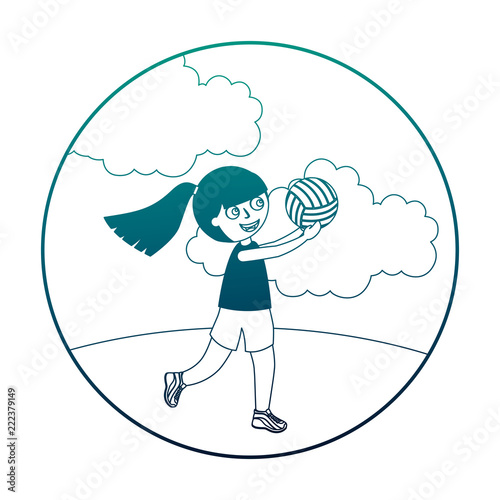 Fototapeta little girl playing volleyball isolated icon