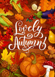 Lovely autumn poster with fall pumpkin and leaf