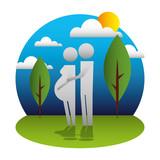 parents couple pregnancy in landscape silhouettes - 222381356