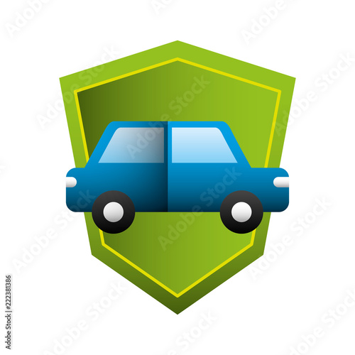 Poster car sedan with shield silhouette isolated icon