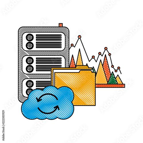 Fototapeta cloud computing folder database center statistics