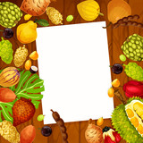 Vector recipe note with exotic fruits design