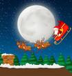 Santa with sleigh and reindeer