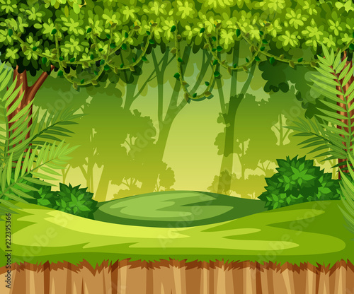 Green jungle landscape scene
