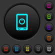 Mobile power off dark push buttons with color icons