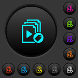 Tag playlist dark push buttons with color icons - 222402156