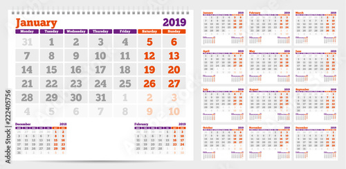 Calendar 2019. Week start from Monday. Set of 12 Months. Ready for print. Vector Illustration