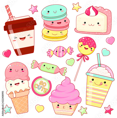 Set of cute sweet icons in kawaii style - 222408993