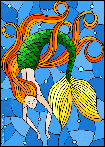 illustration-in-stained-glass-style-with-mermaid-with-long-red-hair-on-water-and-air-bubbles-background