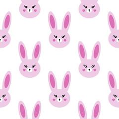 Seamless kawaii pattern. Lovely hares on a white background. © oksanacofee