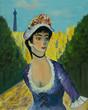 Leinwanddruck Bild - Frau mit Hut in einem Park vor dem Eifelturm