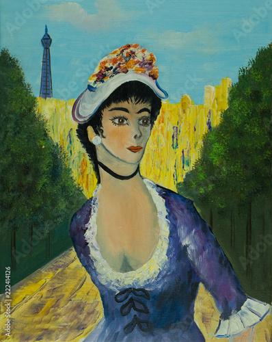 Leinwanddruck Bild Frau mit Hut in einem Park vor dem Eifelturm