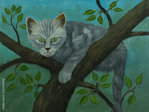 Leinwanddruck Bild Graue Katze mit grünen Augen sitzt auf einem Baum