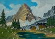 Leinwanddruck Bild - Almen und Fluß vor einem spitzigen und hohen Berg