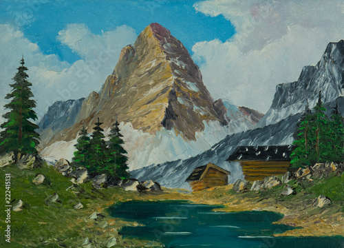 Leinwanddruck Bild Almen und Fluß vor einem spitzigen und hohen Berg