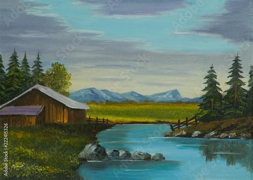 Leinwanddruck Bild Fluß neben einer Scheune mit Bergen im Hintergrund