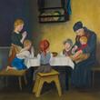 Leinwanddruck Bild - Eine Frau und fünf Kinder am Tisch beim Gebet