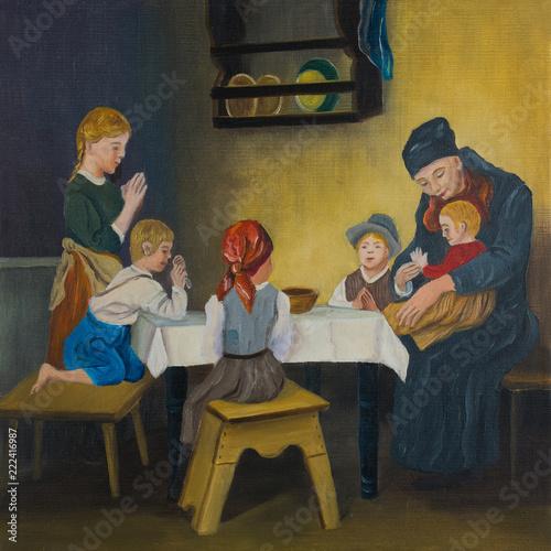 Leinwanddruck Bild Eine Frau und fünf Kinder am Tisch beim Gebet
