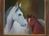 Weißes Pferd und braunes Fohlen mit braunem Rahmen - 222417160