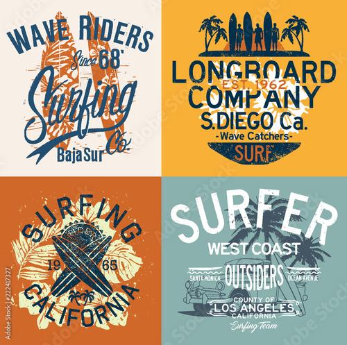 Fototapeta West Coast California surfing team vintage vector T shirt collection