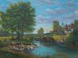 Leinwanddruck Bild - Gemälde vom Leben am Fluß am Rande einer Ortschaft