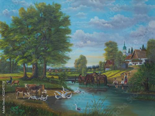Leinwanddruck Bild Gemälde vom Leben am Fluß am Rande einer Ortschaft