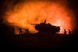 War Concept. Military silhouettes fighting scene on war fog sky background, World War German Tanks Silhouettes Below Cloudy Skyline At night. Attack scene. Armored vehicles. - 222418518