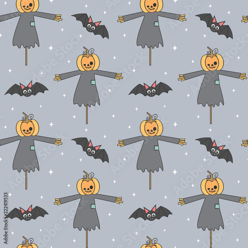 cute cartoon halloween seamless vector pattern background illustration with pumpkin scarecrow and bats