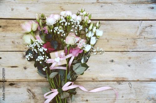 Leinwanddruck Bild Grußkarte - Blumenstrauß - Rosen