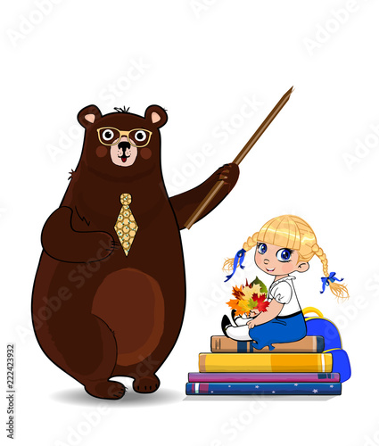 Cartoon bear teacher and school girl sitting on books pile isolated on white - 222423932