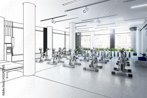 Ergometer im Fitness-Zentrum (Entwurf)