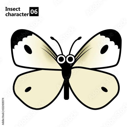 擬人化した昆虫のイラストモンシロチョウinsect Character Butterfly